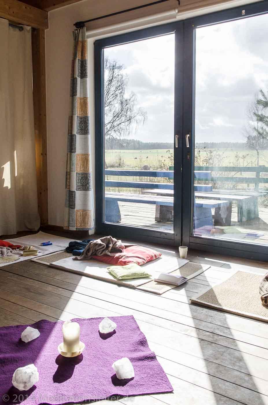 Blick aus dem Meditationsraum in Zempow