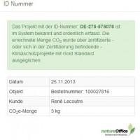 Klimazertifikat ~ Bildschirmfoto der Website natureoffice.com