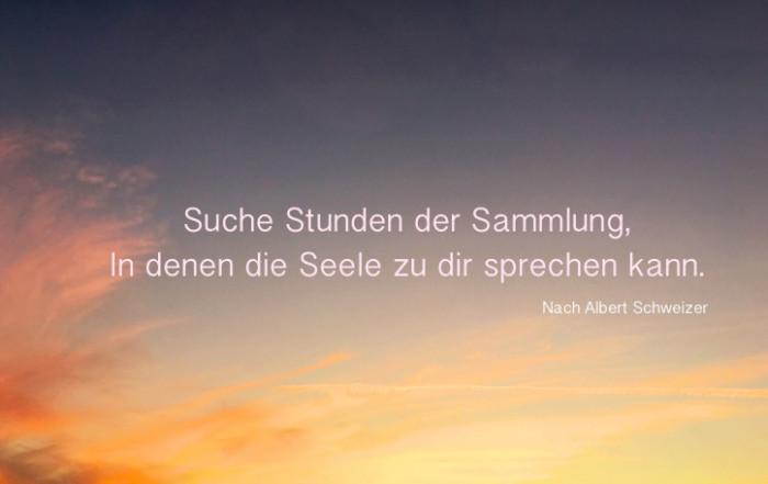 Suche Stunden der Sammlung ... Seele zu Dir sprechen kann - Albert Schweizer